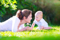 Mother and baby in the garden Royalty Free Stock Photo