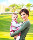 Mother and baby girl outdoor portrait Royalty Free Stock Photography