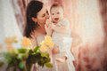 Mother with baby happy and her Royalty Free Stock Photos