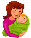 Mother and baby happy young hugging her Royalty Free Stock Images