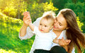 Mother and baby outdoors beautiful nature Royalty Free Stock Photo