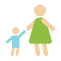 Mother baby silhouette happy family flat style and relationship characters lifestyle vector Royalty Free Stock Photo