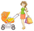 Mother and baby stroller Stock Photo