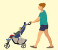 Mother with baby in stroller casually dressed pushing her a Stock Photos