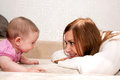 Mother and baby talking Royalty Free Stock Photo