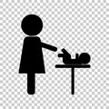 Mother and baby vector icon. Baby care room symbol. Mother and