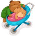 Mother bear and baby in pram Stock Images