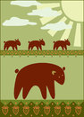Mother bear with her kids illustration Royalty Free Stock Photography