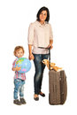 Mother and boy ready for travel toddler with world globe isolated on white background Stock Photo