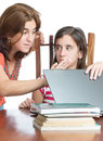 Mother checks her daughter internet activity worried isolated on white Stock Photography