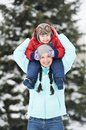 Mother with child boy son at winter Stock Photography