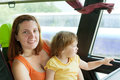 Mother and child in commercial bus Stock Images