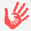 Mother and child Handprint. Palm of woman and baby