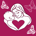 Mother and child lovely cute hand drawing picture of her baby emotional photo shows the real love the clearest love on the world Stock Photos