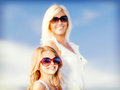 Mother and child in sunglasses summer holidays family children people concept Royalty Free Stock Photo