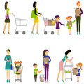 Mother with child in a supermarket / Vector / Mother with baby Royalty Free Stock Photo