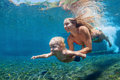 Mother with child swim and dive underwater in sea pool Royalty Free Stock Photo