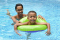 Mother and Child Swimming Stock Images