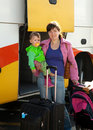 Mother and child traveling on  bus Stock Photos