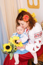 Mother and child in Ukrainian national costumes Royalty Free Stock Photography