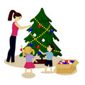 Mother and children decorate Christmas tree isolated on white Royalty Free Stock Photo