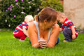 Mother with children enjoy garden Royalty Free Stock Images