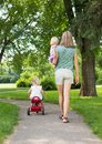 Mother with children strolling in park full length rear view of mid adult Stock Image