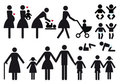 Mother and children, vector icon set Royalty Free Stock Photo