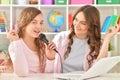 Mother and daughhter singing karaoke