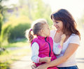 Mother and daughhter in summer day Stock Image