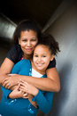 Mother and daughter african american family hugs Royalty Free Stock Photography