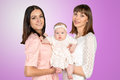 Mother with daughter and aunt godmother Royalty Free Stock Image