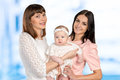 Mother with daughter and aunt godmother Stock Images