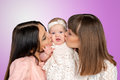 Mother with daughter and aunt godmother Stock Photos