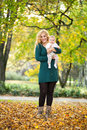 Mother and daughter baby in park with enjoying Royalty Free Stock Image