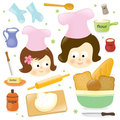 Mother and daughter baking Royalty Free Stock Photo