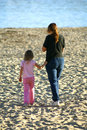 Mother and Daughter on Beach Royalty Free Stock Photography