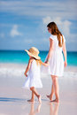 Mother and daughter at beach Royalty Free Stock Photography