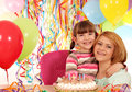 Mother and daughter birthday party happy Stock Images