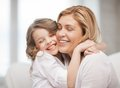 Mother and daughter bright picture of hugging Stock Image