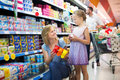 Mother and daughter choosing yogurt Royalty Free Stock Photo