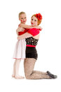 Mother and daughter circus dancer performers a young dancers are Royalty Free Stock Photography