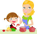 Mother and daughter cooking cartoon Stock Photo