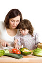 Mother and daughter cooking at the kitchen Royalty Free Stock Photography