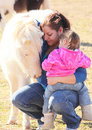 Mother and Daughter Cuddle Miniature Horse Stock Photos