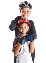 Mother and daughter cycling attire ii with over white background Stock Photos