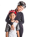Mother and daughter cycling attire iii with over white background Royalty Free Stock Photo