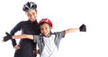 Mother and daughter cycling attire iv with over white background Royalty Free Stock Photos