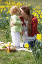 Mother And Daughter In Daffodil Field Stock Photography