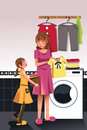 Mother daughter doing laundry a vector illustration of helping her Stock Photography
